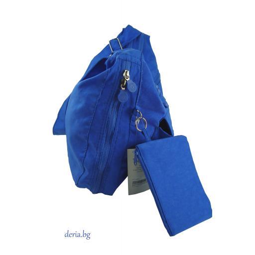 Дамска чанта през рамо от плат-А 56112-синя