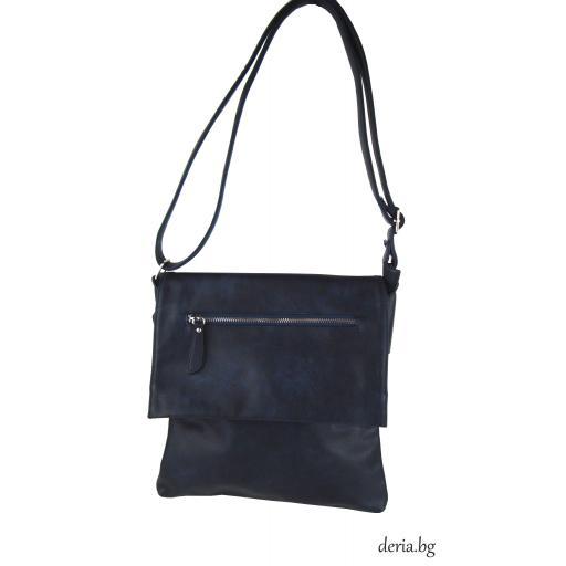 Дамска чанта през рамо А 6665-671-тъмно синя