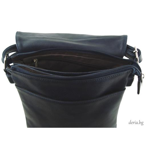 Дамска чанта през рамо А 6665-672-тъмно синя