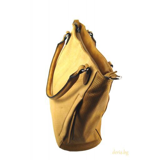 Дамска чанта жълта с перфорации-А 171