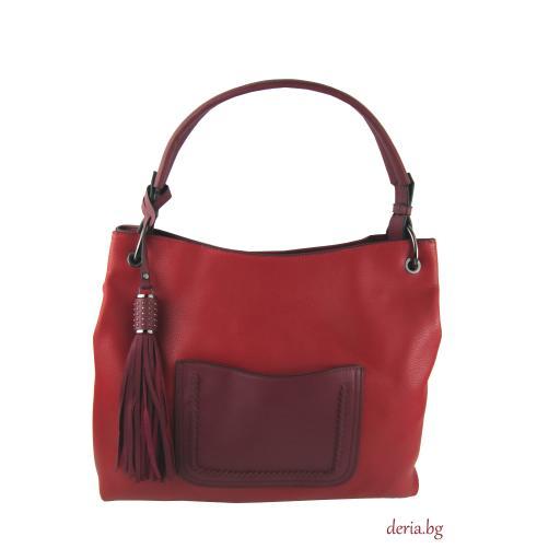 Дамска чанта  тъмно червена в комбинация с бордо-А 552