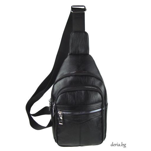 Мъжка чанта за носене през рамо черна-R 1781-1