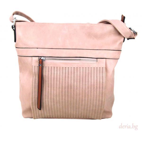 Дамска чанта през рамо 8071-розова