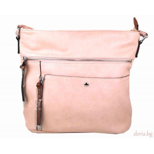 Дамска чанта през рамо 8072-розова