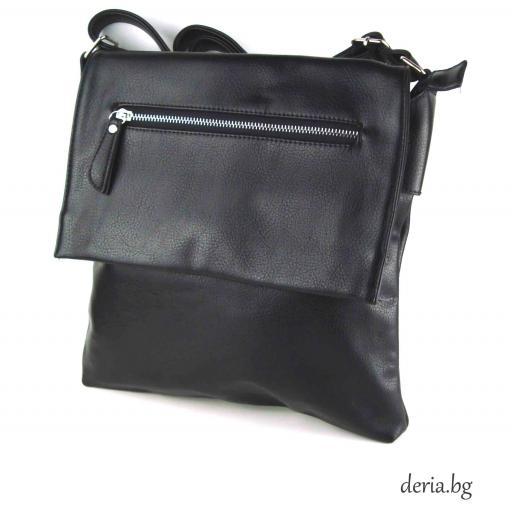 Дамска чанта през рамо А 6665-671-черна