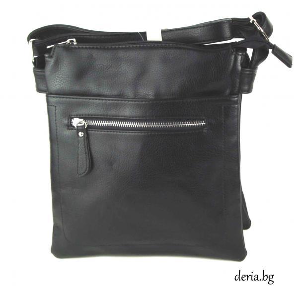 Дамска чанта през рамо А 6663-67-черна