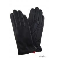 Дамски кожени ръкавици-черни