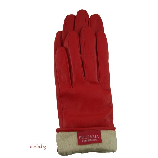 дамски  кожени ръкавици Е 1355-червени
