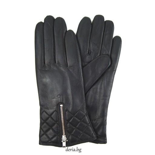 дамски кожени ръкавици 1408-черни