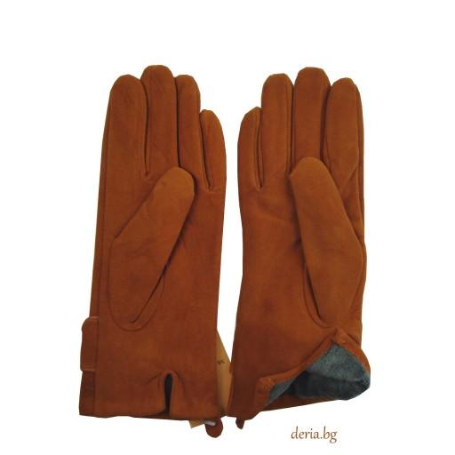 дамски кожени ръкавици 409-светло кафяви
