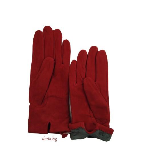 дамски  кожени ръкавици 409-червени