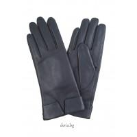 Дамски кожени ръкавици-тъмно сини