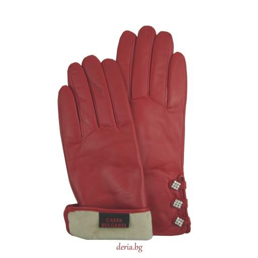 дамски  кожени ръкавици 1254-червени