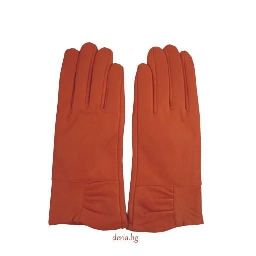 дамски кожени ръкавици 302-оранжеви