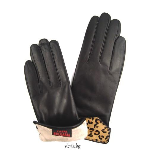 дамски кожени ръкавици 1229-черни