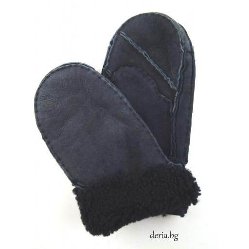 детска ръкавица от естествена кожа-сини