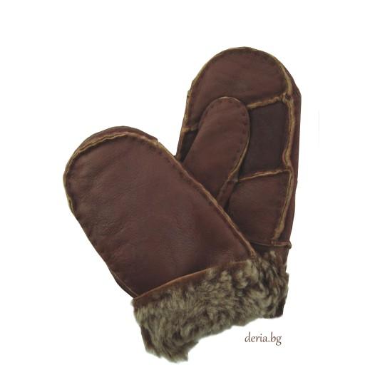 детска ръкавица от естествена кожа-кафяви