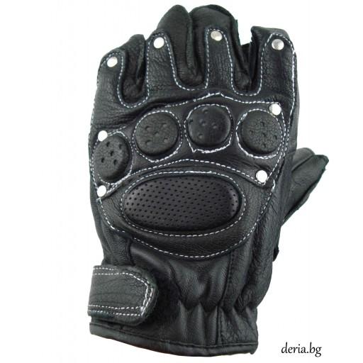 кожени ръкавици с протектори , капси  и бял шев