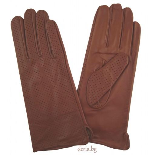 дамски кожени ръкавици без хастар-кафяви