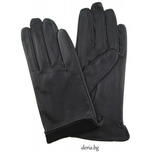 дамски кожени ръкавици без хастар-черни
