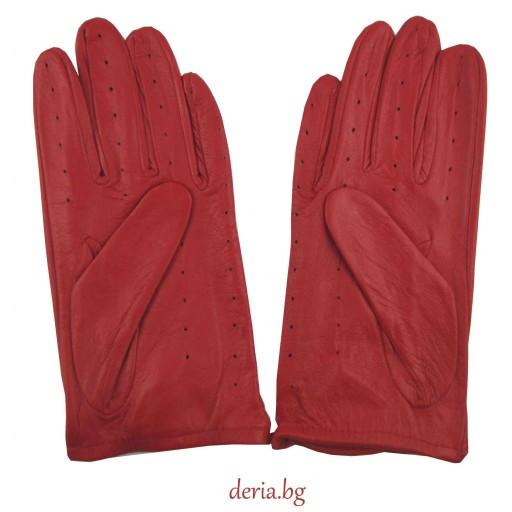 дамски кожени ръкавици без хастар за шофиране-червени