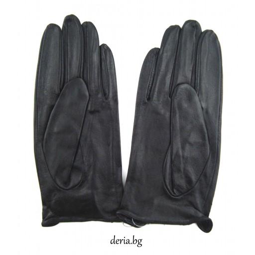 дамски кожени ръкавици без хастар за шофиране-черни