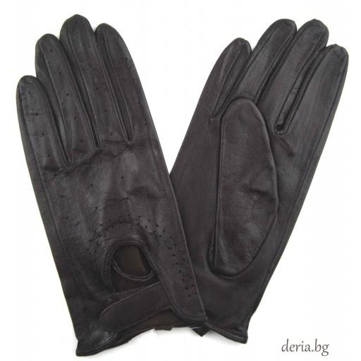 дамски кожени ръкавици без хастар за шофиране-тъмно кафяви