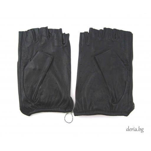 дамски шофьорски кожени ръкавици-черни