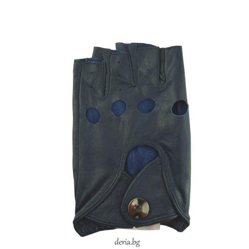 дамски шофьорски кожени ръкавици-сини