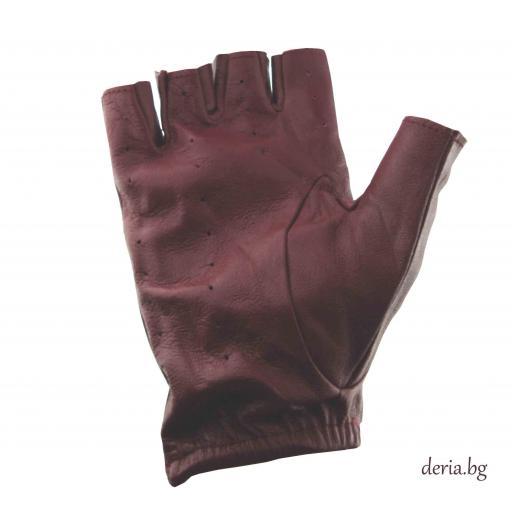 дамски шофьорски кожени ръкавици-бордо