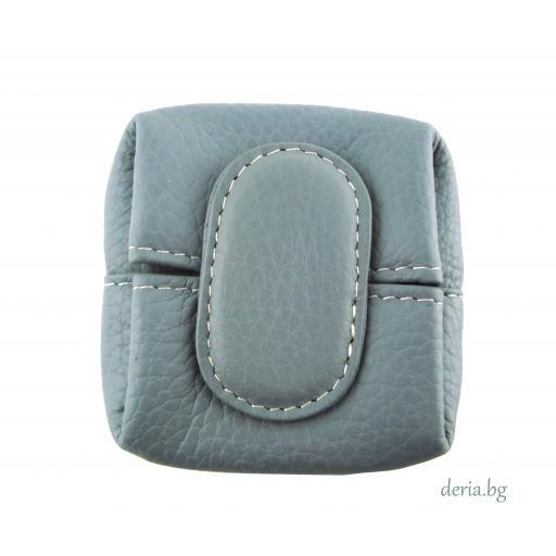 Портмоне за стотинки  от естествена кожа тип френски джоб-синьо