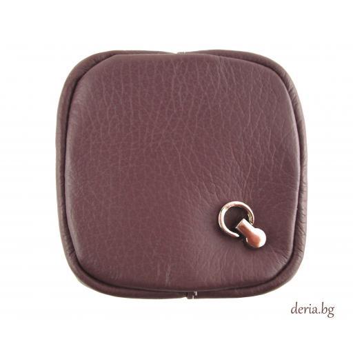 Портмоне за стотинки  от естествена кожа тип френски джоб-лилаво