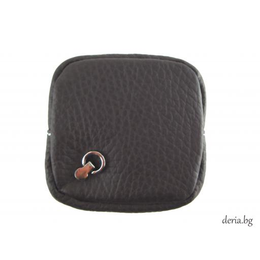 Портмоне за стотинки  от естествена кожа тип френски джоб-тъмно кафяво
