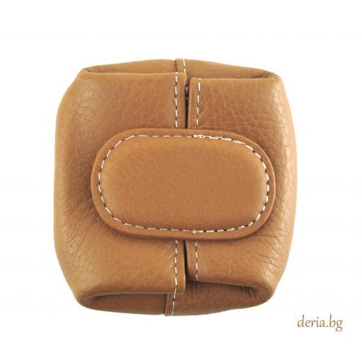 Портмоне за стотинки  от естествена кожа тип френски джоб-бежово